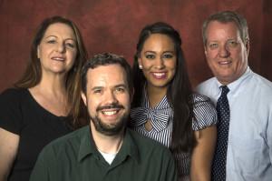The AZ Public Info team, from left: Cherrill Crosby, Stephen Harding, Jessica Ramirez and Pat Flannery, May 13, 2016, in the studio at the Arizona Republic, 200 E. Van Buren Street, Phoenix, Arizona.
